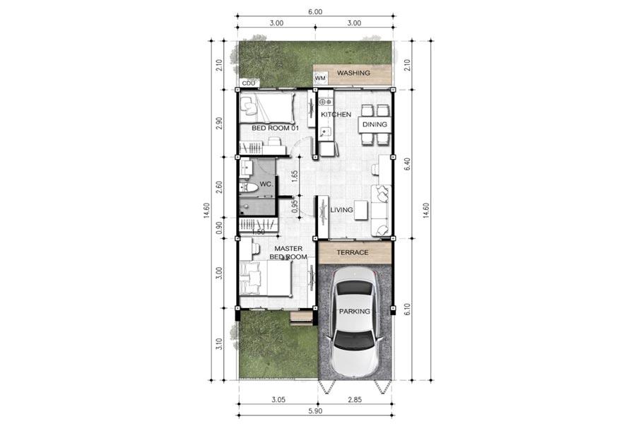 โครงการบ้าน มาย-กรีน @ บุยายใบ – บ้านแฝด, แบบบ้าน